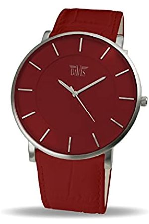 Davis 0912 - Mens Womens Design Ultra Thin Watch Dial Leather Strap