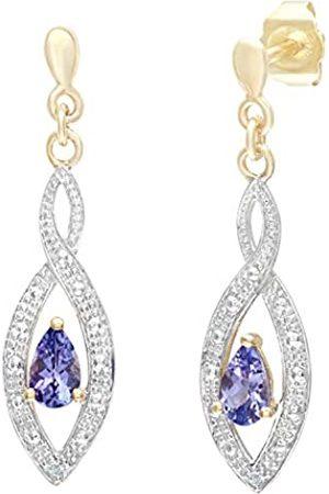 Naava Women's 9 ct Yellow Tanzanite Raindrop Earrings with Diamond