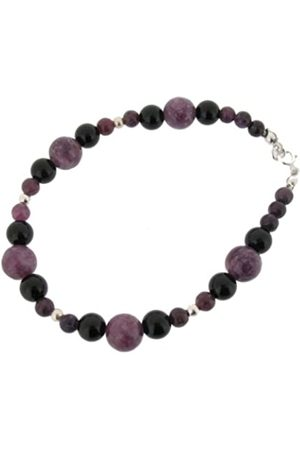 Earth Lepidolite and Black Onyx Beaded Bracelet at 19cm in Length