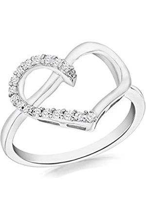 Tuscany Silver Sterling Rhodium Plated Cubic Zirconia Heart Ring - Size P
