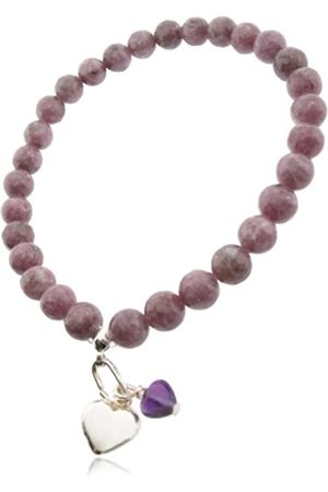 Earth Amethyst Heart and Sterling Silver Heart on Lepidolite Beaded Stretch Bracelet - from the Collection