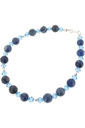 Earth Sodalite and Swarovski Crystal Beaded Bracelet at 19cm in Length