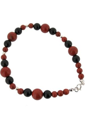 Earth Jasper and Black Onyx Beaded Bracelet at 19cm in Length