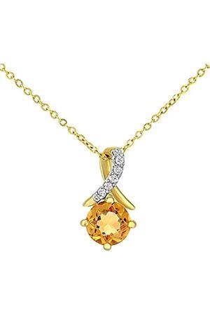Naava 9ct Gold Round Citrine and Diamond Twist Pendant Necklace of 46cm