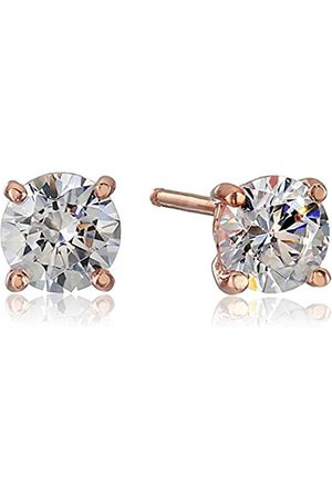 La Lumiere Rose Plated Sterling Silver Made with Cubic Zirconia from Swarovski® (1cttw) Round Stud Earrings