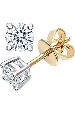 Naava Women's Round Brilliant 0.50ct I/I1 Certified Diamonds 9 ct Stud Earrings
