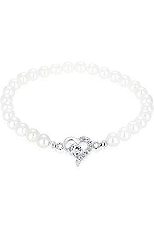 Elli Women's 925 Sterling Silver Swarovski Crystals Heart Shell Core Pearl Bracelet of Length 17 cm
