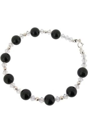 Earth Clear Swarovski Crystal and Large Onyx Bead Bracelet at 19cm in Length