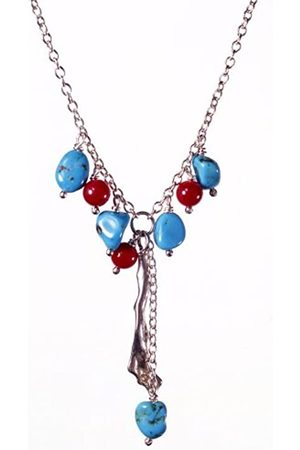 Jane Davis BCH 006 Coral and Turquoise Charm style necklace with coral