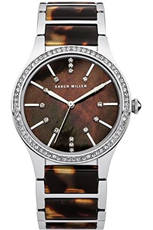 Karen Millen Women's Quartz Watch with Mother of Pearl Dial Analogue Display and Two Tone Stainless Steel Bracelet KM128SM