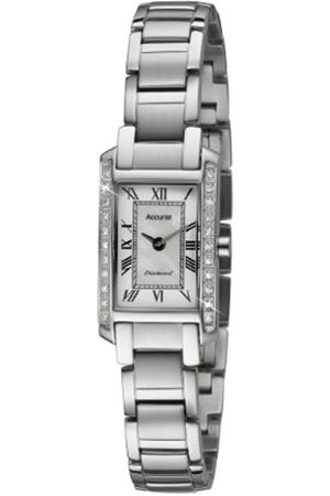 Accurist Women's Quartz Watch with White Dial Analogue Display and Silver Stainless Steel Bracelet Lb1590Rn