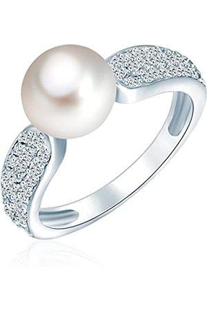 Valero Pearls Female 925/- Sterling Silver Zirconia (CZ) Pearl Ring