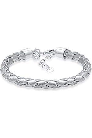 Elli Women's 925 Sterling Boho Festival Leather Swarovski Crystals Solitaire Bracelet - 16cm length