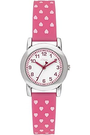 s.Oliver Girls Analogue Quartz Watch with Silicone Strap SO-3916-PQ