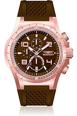 BOBROFF Bf1002l65 – Men's Leather Strap Watch – Brown/Grey