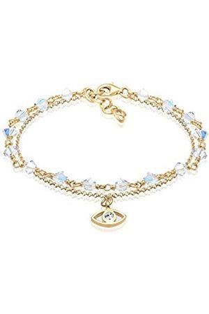 Elli Women Evil Eye Talisman Swarovski Crystals 925 Sterling Silver Bracelet of Length 16cm