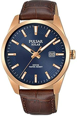 Pulsar Mens Analogue Solar Powered Watch with Leather Strap PX3186X1