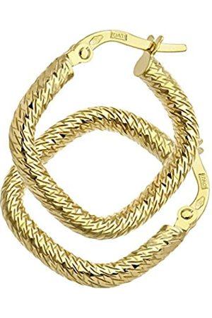 Citerna 9 ct Yellow Diamond Cut Square Hoop Earrings