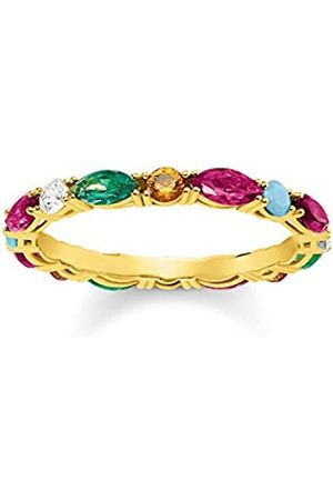 Thomas Sabo Women's 925 Sterling Silver Glam and Soul Colourful Stones Yellow Plating Ring - Size O TR2185-488-7-54