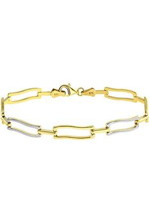 Citerna 9 ct Yellow and White Alternate Waved Rectangular Link Bracelet of Length 19.5 cm