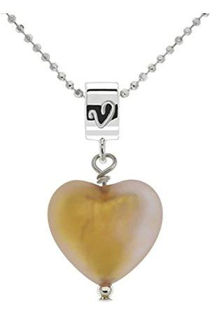 Amanti Venezia Caramel Colour Murano Heart Pendant with Chain of Length 46 cm