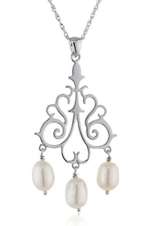 Sakura Pearl Women's Necklace with Pendant 925 Silver Rhodium-Plated Fresh Water Cultured Pearls 45 CM on A - 300