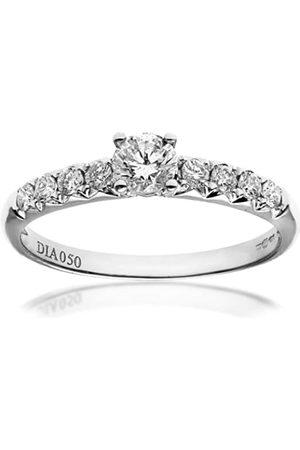 Naava Women's 18 ct White Gold Shoulder Set Engagement Ring, IJ/I Certified Diamonds, Round Brilliant