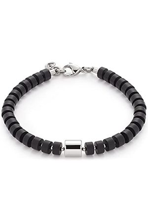 Leonardo JEWELS BY LEONARDO women men bracelet Como men stainless steel/silver colored glass black 21 cm carabiner 016430