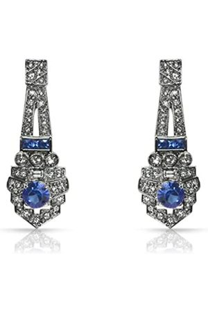 Cristalina Rhodium Plated Crystal Art Deco Earrings of 40mm Long