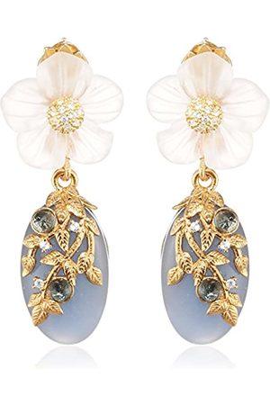 MISIS Naturalia Women's Earrings 925 Silver Rose Gold Plated Cubic Zirconia Quartz White Sapphire OR09087BL 4 CM