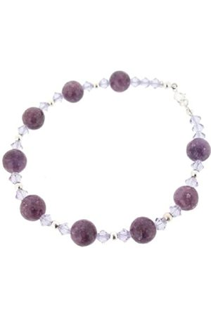Earth Swarovski Crystal and Large Lepidolite Bead Bracelet at 19cm in Length