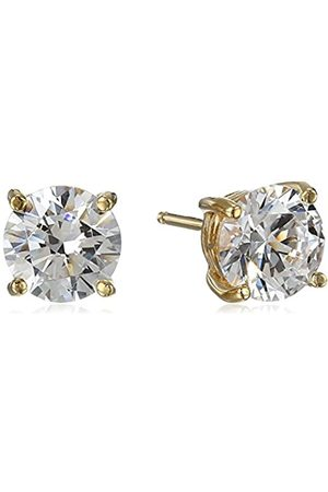La Lumiere Plated Sterling Silver Made with Cubic Zirconia from Swarovski® (3cttw) Round Stud Earrings