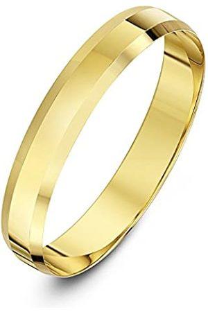 THEIA Unisex 9ct Heavy Flat Shape Bevelled Edge Polished 4mm Wedding Ring - Size S