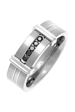 THEIA Titanium Flat Court 0.15ct Treated Black Diamond Matt and Groove 7mm Ring - Size Z