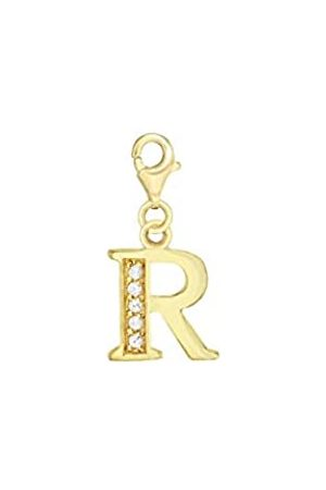 Tuscany Silver Sterling Gold Plated Cubic Zirconia R Initial Charm