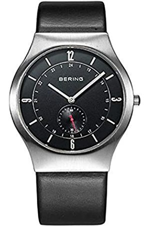 Bering Time Men's Quartz Watch with Black Dial Analogue Display and Black Leather 11940–409