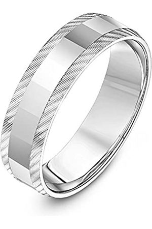 THEIA Unisex Sterling Polished and Diagonal Serrated Matt Edge Finish 6mm Wedding Ring - Size Y