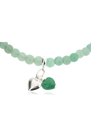 "Earth Women Necklaces - Aventurine Heart and Sterling Silver Heart on Aventurine Beaded 18"" Necklace - from the Collection"