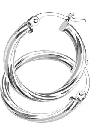 Citerna Ladies Hoop Earrings, 9 ct White Gold