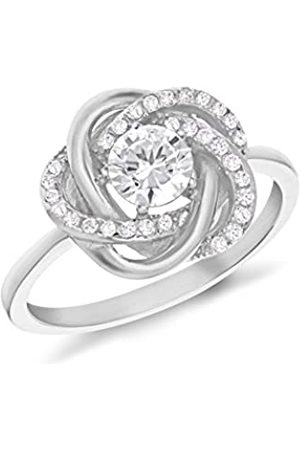 Tuscany Silver Sterling Silver Rhodium Plated Cubic Zirconia Knot Ring - Size P