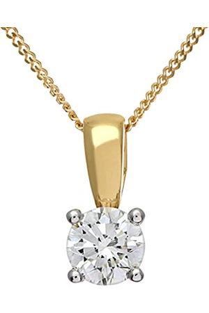 Naava Women's Round Brilliant 0.50ct I/I1 Certified Diamonds 9 ct Solitaire Pendant with Chain of 46 cm