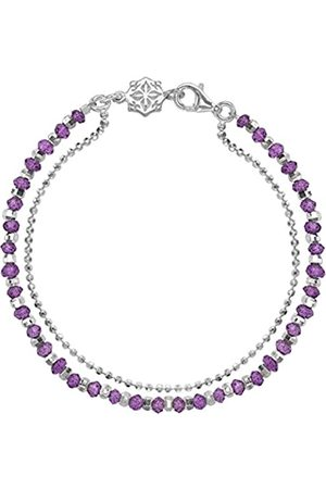 Dower & Hall Orissa Sterling Silver Faceted Amethyst Bead and Chain Bracelet of Length 18.5cm