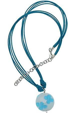Amanti Venezia Murano Glass Aqua Floral Disc and Multi-Strand Cord Necklace of 40.0-46.0cm