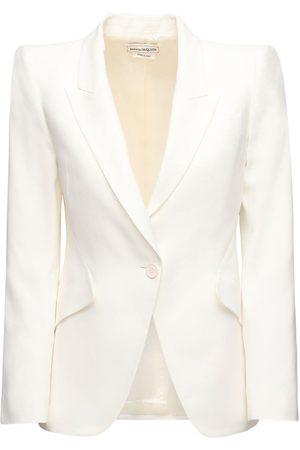 Alexander McQueen Women Jackets - Leaf Crepe Single Breast Blazer Jacket