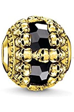 Thomas Sabo Women Men-Bead Skulls Karma Beads 925 Sterling Silver 18k yellow plating Onyx black K0240-177-11