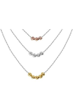 """Tuscany Silver Sterling Silver 3 Colour Gold Plated Triple Ball Graduated Chain Necklace of 46cm/18"""""""