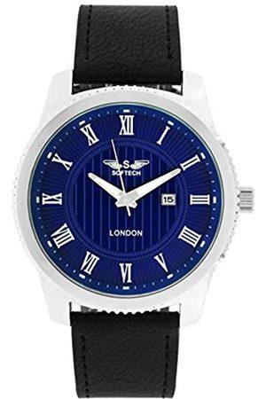 SOFTECH London Mens Analogue Classic Quartz Watch with PU Strap J815 Chrome Blue