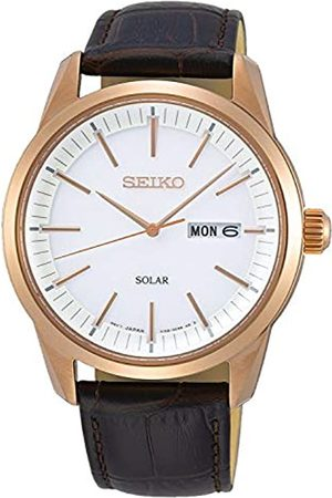 Seiko Mens Analogue Quartz Watch with Leather Strap SNE530P1