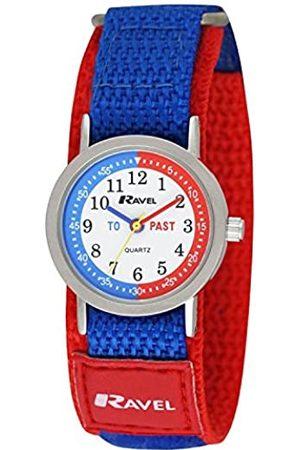 Ravel Children's Timeteacher Watch on Red and Blue Easy Fasten Strap