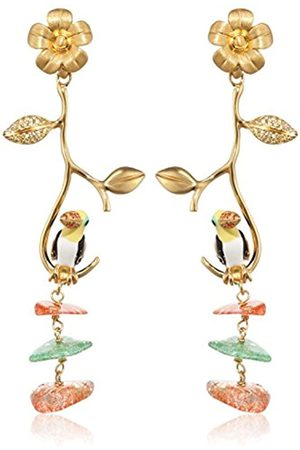 MISIS Jungle Tiara Women's Earrings 925 Sterling Silver Gold-Plated Zirconia Multi Coloured Crystal 6.5 CM-Or08339